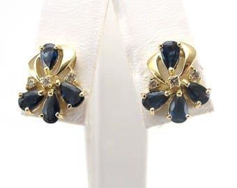 14K Yellow Gold Sapphire And Diamond Earrings - 14k Gold Gemstones Stud Earrings