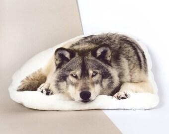 Amasing wolf plush, big stuffed animal wolf, wolf pillow, wolf gift for him, woodland animal decor