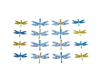 Patch dragonflies Fabric Supply Ornament Baby shower decor Applique Iron On Patch Set 16 dragonflies Liberty Speckle blue sparkly fabric