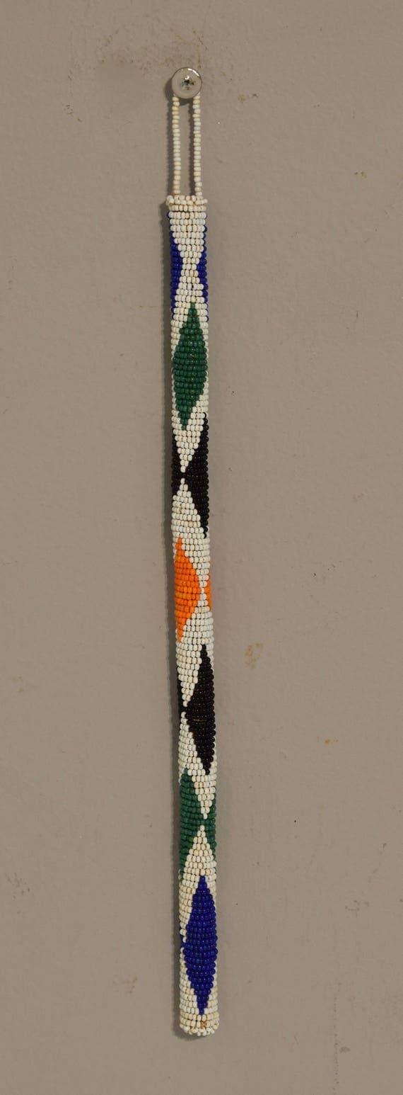 African Zulu Orange White Beaded Dance Stick Celebration Festival Dance Stick