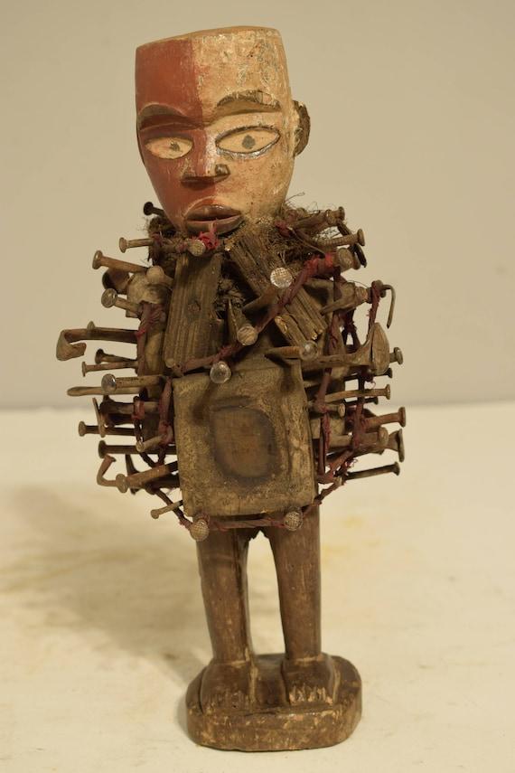 African Yombe Nail Fetish 2 Tone Wood Statue Congo Blades Nails Protection Nail Fetish