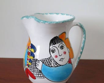 Wonderful Desuir Int. handmade and handpainted ceramic pitcher. Art Pottery. Made in Italy