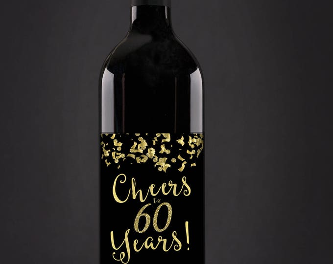 Digital Wine label, Cheers, 21st, 30th, 40th, 50th, 60th, 70th, 80th, 90th, glitter, favor sticker, label, Gold, birthday, retirement party