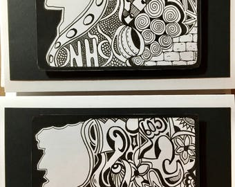 Old Man in the Mountains - NH - Zentangle Blank Greeting Card - Unique - NO photocopies!