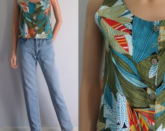 Tropical print summer blouse top t shirt, french 80s retro vintage, bright colourful, sleeveless, cotton, button through, small