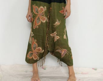 Touch Soft Silk..Green Soft Silk Harem Pants with Butterfly patterned (HR-604)