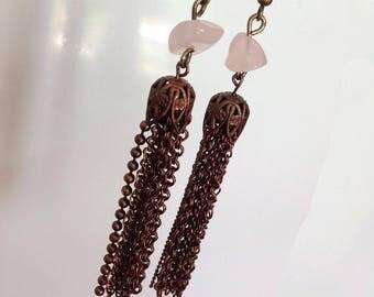 Rose quartz earrings, long, copper chains.