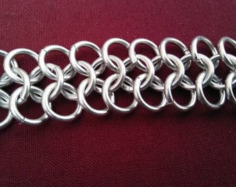 Handmade Chainmail Wrist Wrap, Lightweight Aluminum and Adjustable