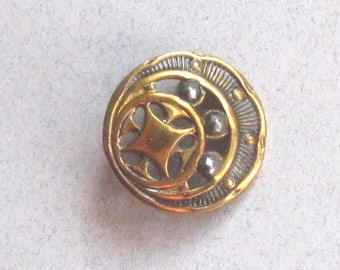 Delicate Pierced Brass Button With Riveted Cut Steels