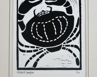 Crab, Seaside inspired limited edition linocut print