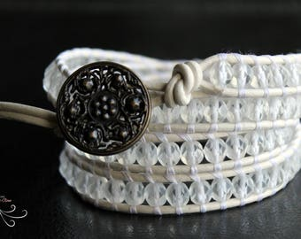 wrap beaded bracelet, leather wrap bracelet, leather bracelets women, beaded wrap bracelet, beaded jewelry, boho jewelry, beaded braclets
