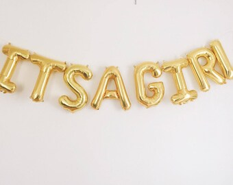 IT'S A GIRL balloons - gold mylar foil letter balloon banner kit