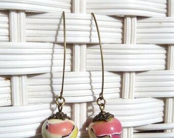Earrings polymer clay mosaic yellow Burgundy