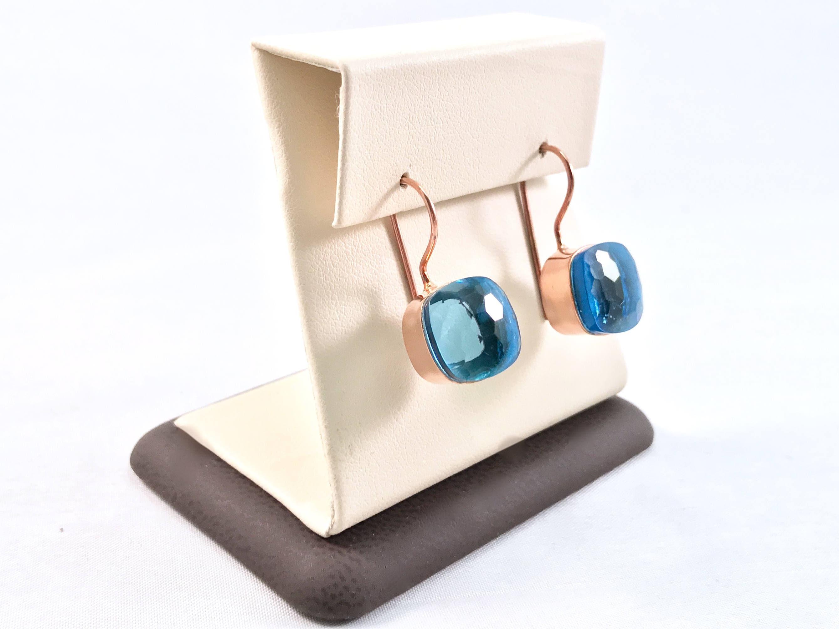 Classic blue topaz dangle earrings Rose gold square topaz