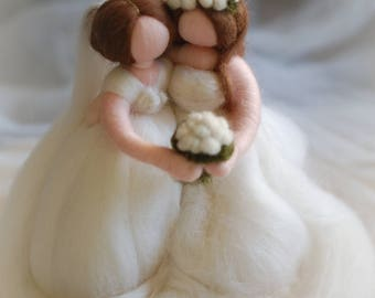 Rainbow Brides, fairy tale wool, Waldorf inspiration, wedding cake decoration