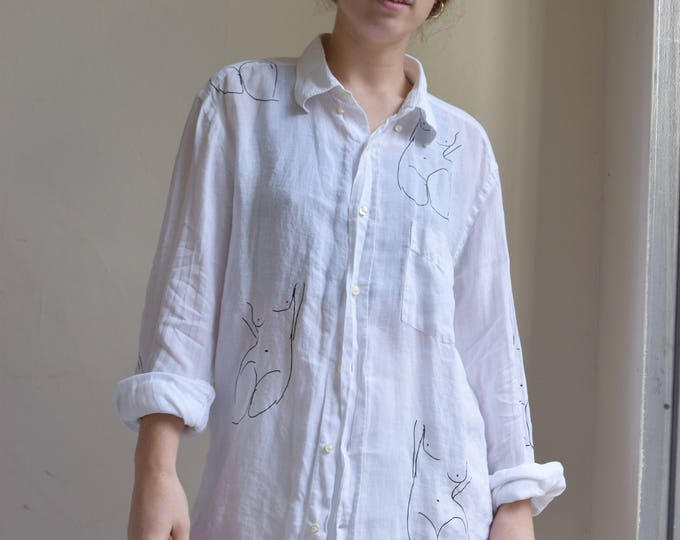 Pablo White Relaxed Linen Long Sleeve shirt