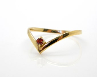 Gemstone ring Stacking ring gold garnet ring thin ring delicate ring promise birthstone ring red stone ring Dainty gold ring