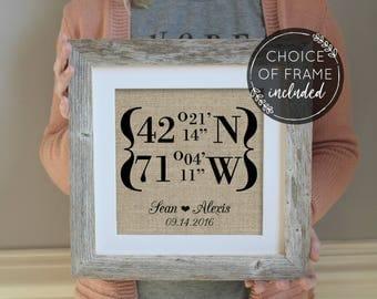 Latitude and Longitude Framed Burlap Print | Personalized Wedding Gift | GPS Coordinates | House Warming Gift | Housewarming Gift for Couple