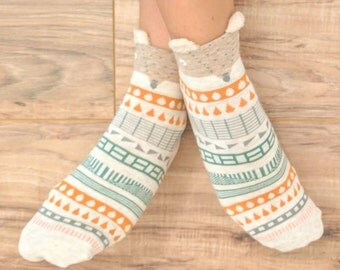 Womens crew socks. Boho fashion. Kawaii. Birkenstock socks. Casual socks.