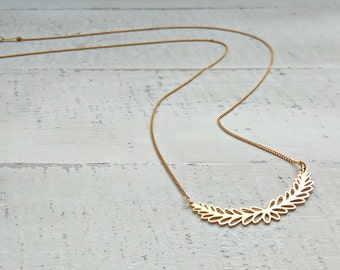 Branch Necklace, Gold Necklace, Tree Necklace, Nature Jewelry, Geometric Necklace, Simple Leaf Necklace, Dainty Gold Necklace, Handmade Chic