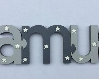 Dark Grey & Light Grey Jigsaw Design Name (PRICE PER LETTER)