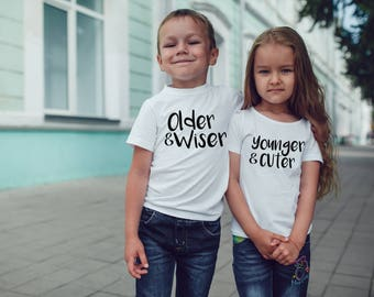Older Wiser Younger Cuter Set of 2 Funny Toddler 2T 3T 4T White Shirt Tee Top for Twins Cousin Sibling Brother Sister Humor Parody Novelty