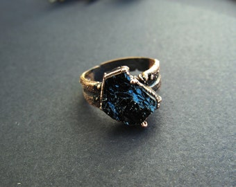 Black tourmaline copper ring adjustable
