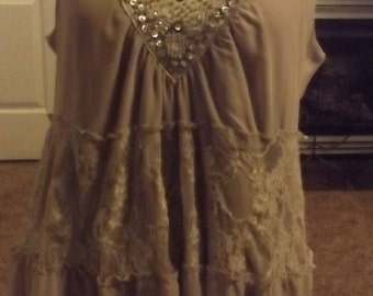 Gypsy Boho Beige Lace Tiered Blouse Top Large
