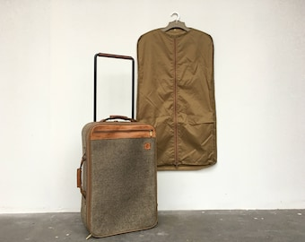 vintage luggage. vintage hartman carry on rolling luggage - leather and tweed suitcase with suit case