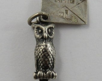 Owl With Cleveland Ohio Tag Sterling Silver Vintage Charm For Bracelet
