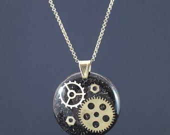 Steampunk Orgone Energy Pendant - Orgone Energy Crystal Healing - EMF Protection - Handmade - Unique - Brass Chain