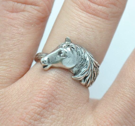 Horse silver ring, head horse ring, poney ring, riding ring, riding horse ring, animal ring, horses ring, horse rings, vintage horse ring