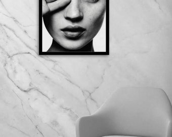 Kate Moss poster, Kate Moss Print, fashion wall art, vogue print, fashion, black and white photography, digital download, instant download
