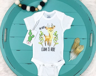 Personalized Boy Onesie, Coming Home Outfit, Boy Newborn Outfit, Baby Boy Announcement, Hospital Take Home Outfit, Deer Onesie, Woodland