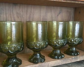 Set of 4 Vintage, green glass, Tiffin Franciscan Madeira Cornsilk Goblets chunky glasses mid century modern wine glass water glass avocado