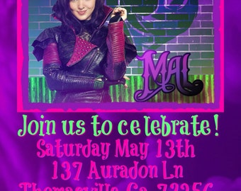 Descendants Birthday Invitation feat. Mal