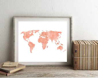 World map download etsy desert pink pastel watercolordistressed world map instant download rustic minimalist gumiabroncs Gallery