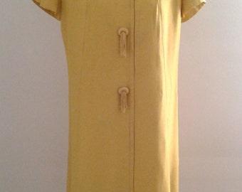 Vintage 1960's Mustard Yellow Shantung Short Sleeve Dress Tassel Buttons Sz Med Mod Mad Men