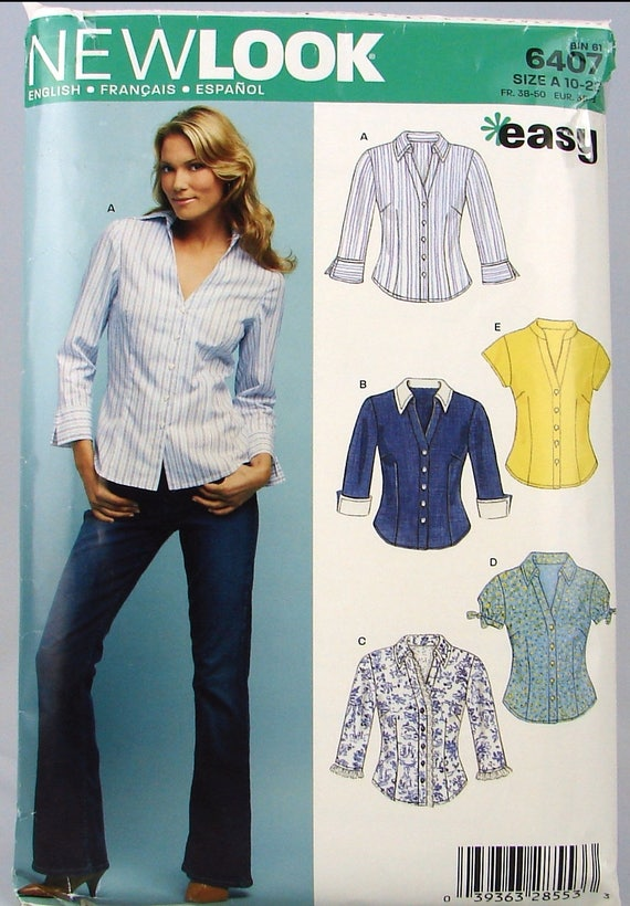Women\'s Shirts New Look 6407 Easy Sewing Pattern Out of