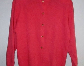 Vintage Neiman Marcus Salmon Pink Cashmere Sweater Gold Knot Buttons Retro Cardigan Size Large VTG