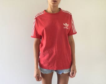 vintage adidas 3 stripe t-shirt, faded ringer tee, great vintage condition, red vintage tee