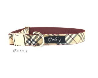 Dog Collar - Furberry Burberry Dog Collar - Plaid Dog Collar - Tartan - Beige/Tan Print - Fabric Dog Collar - Silver Metal Hardware