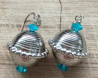 Beaded earrings, Silver earrings