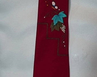 Vintage Andre of California Hand Painted Tie/ Leaves Grapes Butterflies/ Skinny Tie/ 1950s Tie/ Rockabilly/ Richman Brothers