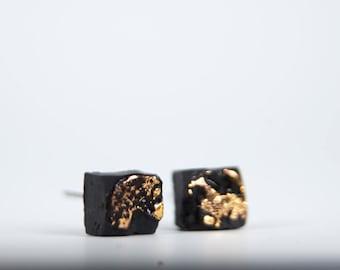 Cube Earrings, Square Earrings, Mens Earrings, Porcelain Jewelry, Ceramic Jewelry, Handmade Earrings, Black Earrings, Organic Earrings