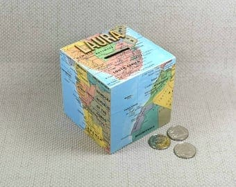 Map Wooden Money Box, choose your location!