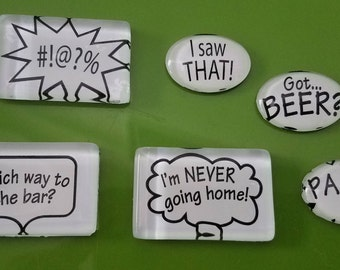 Clear tile magnets -  Thought bubbles