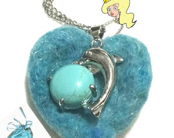 Light Jade Dolphin Pendant, Felted Heart Dolphin Pendant, Jade Dolphin Heart Pendant, Needle felted Dolphin Heart Pendant, Hand Crafted Gift