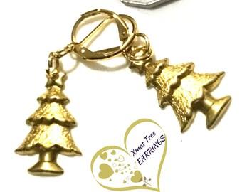 Christmas Tree Earrings, Gold Drop Earrings, Gold Tree Earrings, Early Xmas Gift ,Pretty Tree Earrings,Gift for Work Pal,Xmas Party Earrings