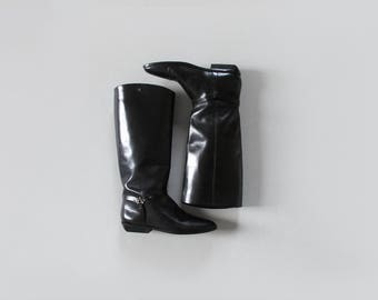 black leather riding boots / vintage tall low heel boots / womens 7.5